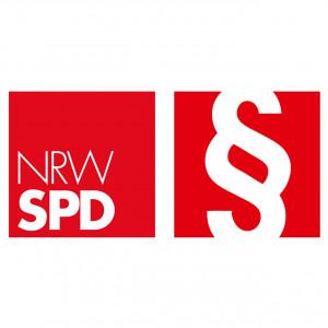 Logo NRWSPD Arbeitsgemeinschaft sozialdemokratischer JuristInnen mit einem Paragraphenzeichen