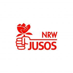 logo jusos mit einer rot gezeichneten Faust die eine Rose hält