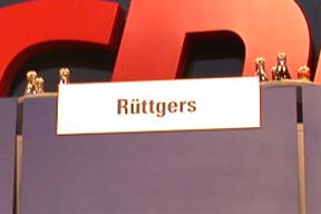 Platz von Jürgen Rüttgers während des CDU Landesparteitages in Siegen am 06. 07. 02