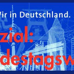 Banner zur Bundestagswahl 2002: Wir in Deutschland.