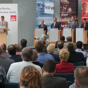Ruhrkongress in Gelsenkirchen mit Franz Müntefering, Peer Steinbrück und Harald Schartau