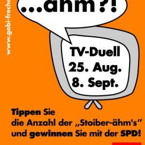 """Plakat zum TV-Duell Stoiber-Schröder: Tippen Sie die Anzahl der """"Stoiber-ähms"""""""