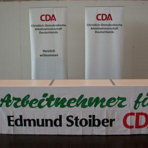 Wahlkampfauftakt der CDU in Düsseldorf, Plakat Arbeitnehmer für Stoiber CDA am 01. 09. 02