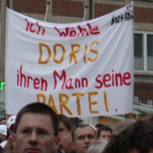 Plakat Ich wähle Doris ihren Mann seine Partei am 04. 09. 02