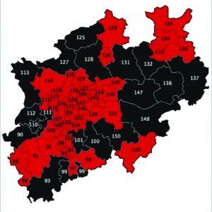 Übersicht Wahlkreiskarte der Direktmandate für den Deutschen Bundestag
