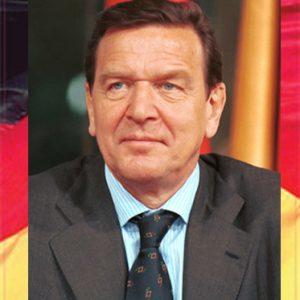 Bildmontage Gerhard Schröder Portrait vor Deutschland-Fahne