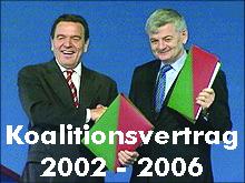 Gerhard Schröder und Joschka Fischer präsentieren den Koalitionsvertrag 2002-2006 zwischen SPD und Bündnis 90 / Die Grünen