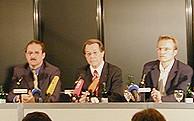 (v.l.: Harald Schartau, Franz Müntefering, Jochen Ott)