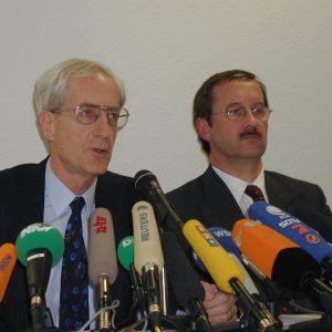 Jürgen Schmude und Harald Schartau am 15. 03. 02