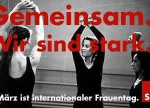 """Banner zum internationalen Frauentag """"Gemeinsam sind wir stark"""""""