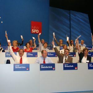 Präsidium bei der Abstimmung während des Landesparteitages in Bochum am 14. 06. 03