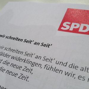 """DIN A4 Blatt mit dem Text von """"Wann wir schreiten Seit' an Seit'"""""""
