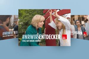 Beitragsbild zur Kampagne #NRWIR. Hannelore Kraft unterhält sich mit einem Mädchen