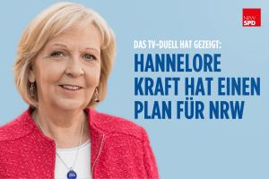 """Porträtfoto von Hannelore Kraft mit hellblauem Grund daneben dunkelblauer Schriftzug """"Das TV-Duell hat gezeigt: Hannelore Kraft hat einen Plan für NRW"""""""
