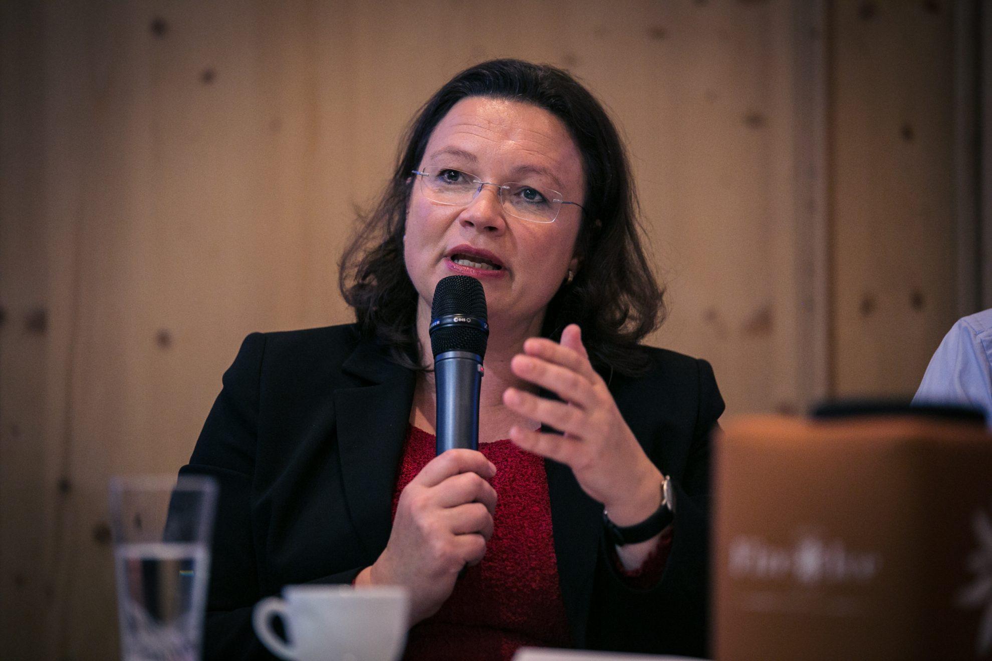 Andrea Nahles hält eine Rede bei der Klausurtagung