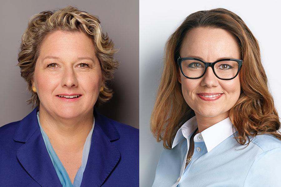 Porträtfotos von Svenja Schulze und Michelle Müntefering