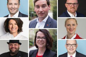 Zusammengeschnittene Porträtfotos von der neuen Parteispitze der NRWSPD: Marc Herter, Elvan Korkmaz, Veith Lemmen, Sebastian Hartmann, Nadja Lüders, Sören Link, Dörte Schall, Andre Stinka