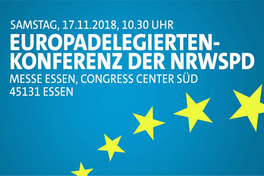 Digitale Einladung zur Europadelegiertenkonferenz der NRWSPD am Samstag, 17.11.2018 in Essen