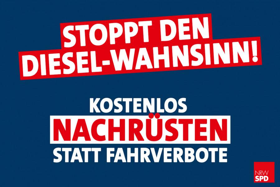 """Digitales Banner """"Stoppt den Diesel-Wahnsinn! Kostenlos nachrüsten statt Fahrverbote"""""""