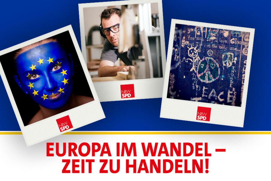 """Digitales Banner mit Polaroids. Eine Frau mit aufgemalter EU-Flagge über das Gesicht, Ein Schreiner bei seiner Arbeit, eine beschriebene Wand. Darunter steht """"Europa im Wandel - Zeit zu handeln!"""""""