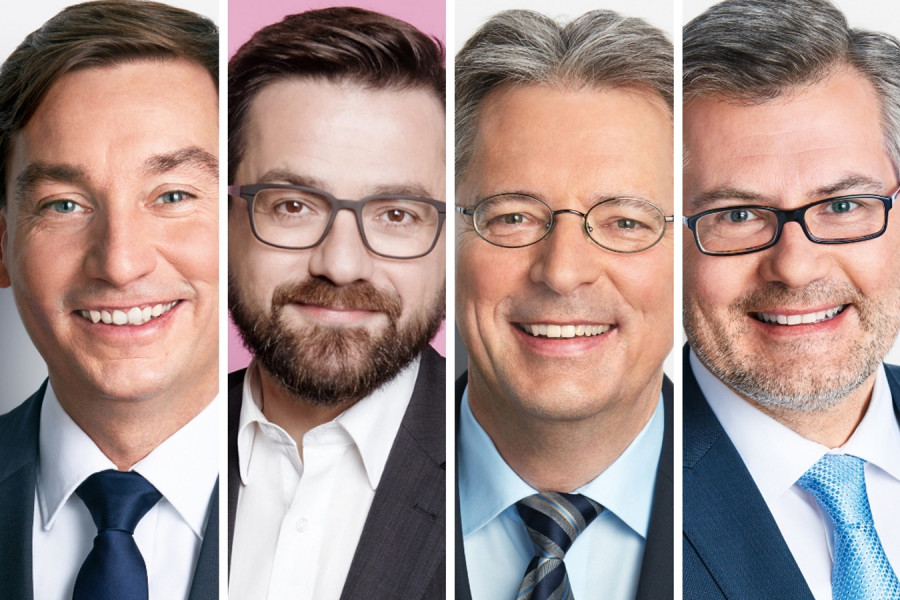Porträtfotos von Sebastian Hartmann, Thomas Kutschaty, Achim Post und Dietmar Nietan