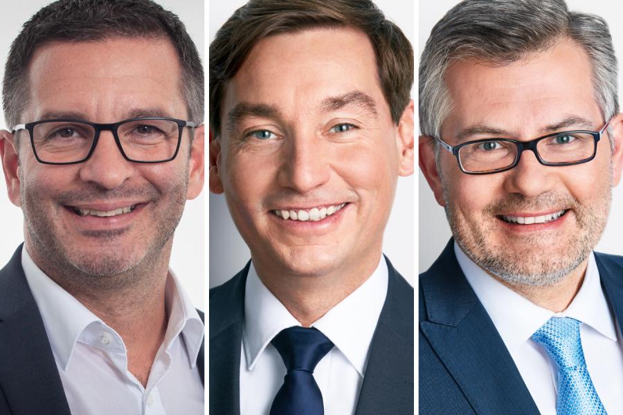 Porträtfotos von Marc Herter, Sebastian Hartmann und Dietmar Nietan