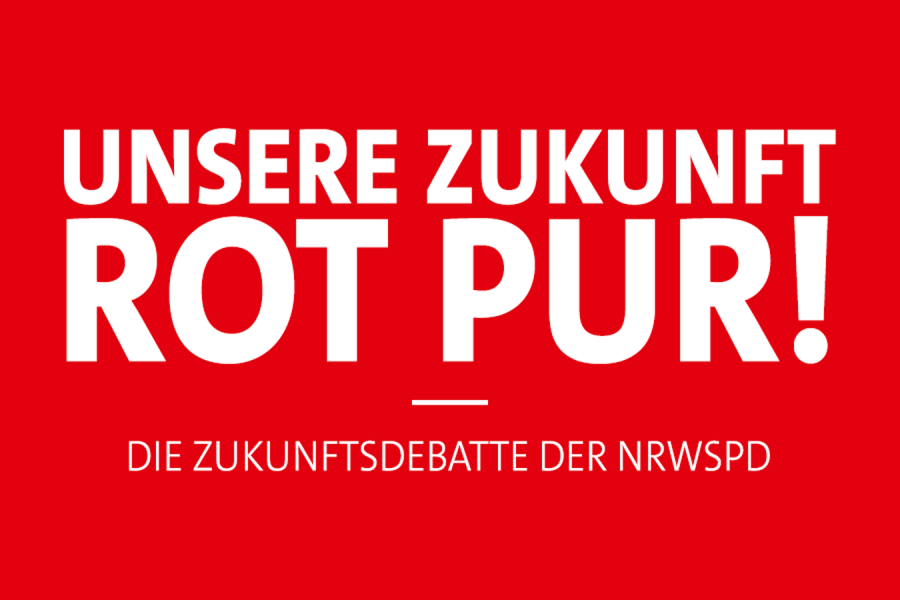 """Header der NRWSPD """"Unsere Zukunft ROT PUR! Die Zukunftsdebatte der NRWSPD"""""""