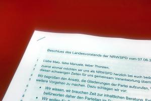 Teil des Briefes des NRW-Landesvorstandes an die kommissarischen SPD-Parteivorsitzenden