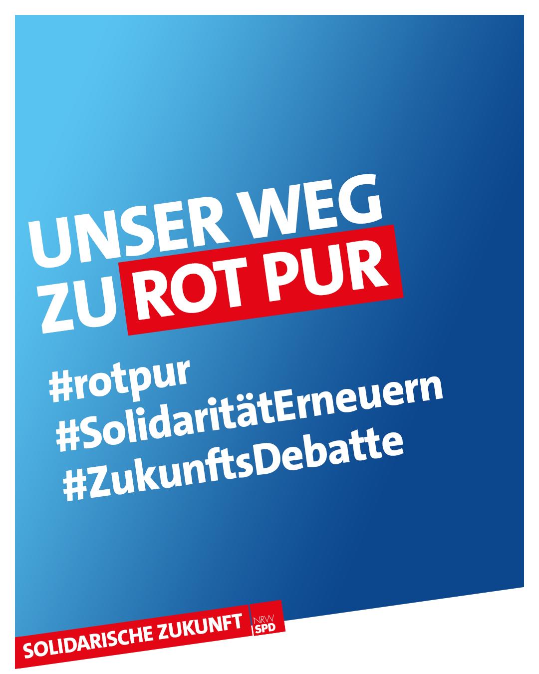 """Digitales Banner mit weißer Schrift auf blauem Grund. """"Unser Weg zu Rot Pur #rotpur #SolidaritätErneuern #ZukunftsDebatte"""
