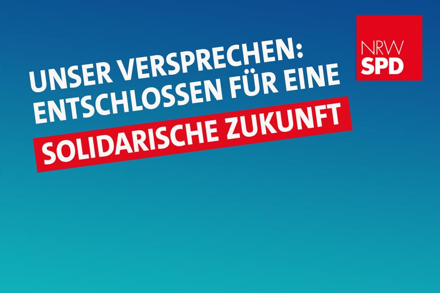 """Digitales Banner mit weißer Schrift auf blauem Grund. """"Unser Versprechen: Entschlossen für eine solidarische Zukunft"""""""