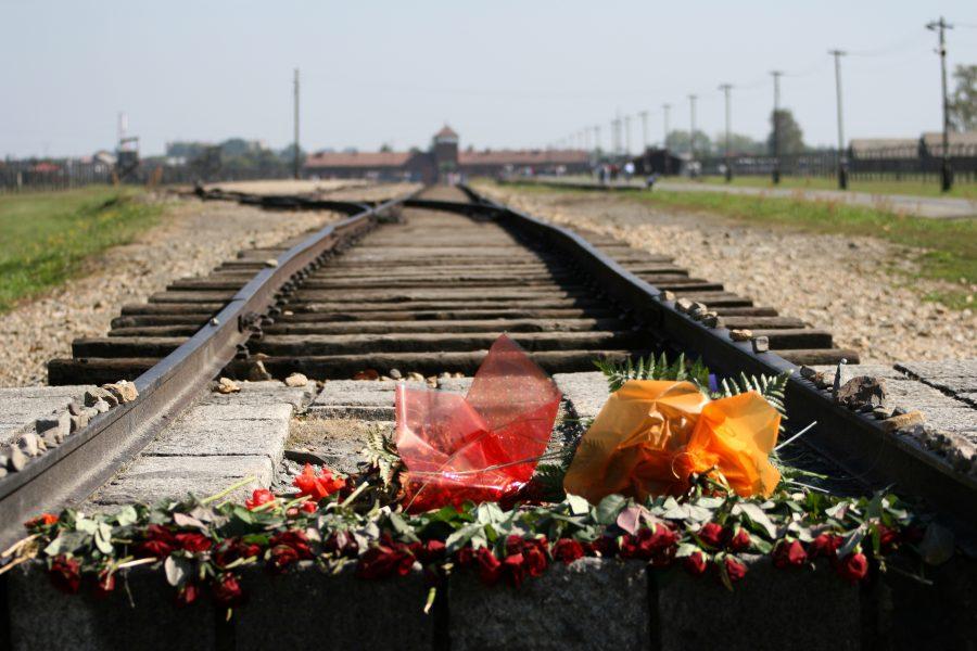 Mit Blumen belegtes Bahngleis vor dem Eingang des KZ Auschwitz-Birkenau